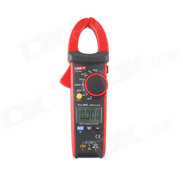 "UNI-T UT216A 1.76"" Display 600A True RMS Digital Clamp Meter Multimeter - Black + Red"