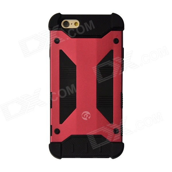 GeekRover Armor Hybrid Metal + Silicone Case for IPHONE 6 4.7 - Dark Red + Black hybrid rugged armor shockproof tpu cover case for iphone 7