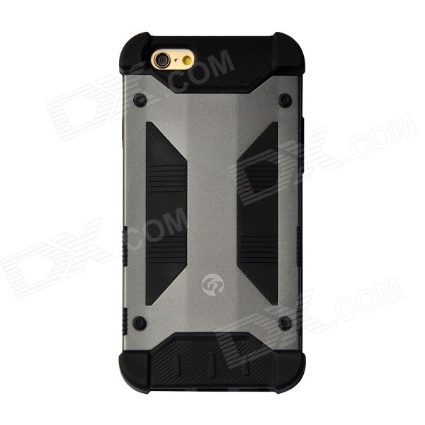 GeekRover Armor Hybrid Metal + Silicone Case for IPHONE 6 4.7 - Deep Gray + Black hybrid rugged armor shockproof tpu cover case for iphone 7