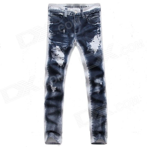 JP209-HV078 Men's Fashion Leisure Jeans - Blue + White (Size 31)