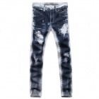 JP209-HV093 Men's Fashionable Leisure Personality Printing Design Jeans - Blue + White (Size 32)