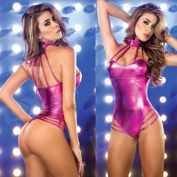 Women's Fashionable Sexy Dance Club One-Piece Lingerie - Deep Pink