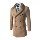 WS755 Autumn and Winter Wear Threaded Collar Double-breasted Slim Coat - Khaki (L)
