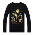 NT00745-1 Men's 3D Printing Wolf Pattern Long Sleeves Cotton T-Shirt - Black (L)
