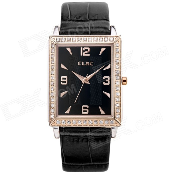 Clerc A8004F Men's Fashionable Leather Band Analog Quartz Wrist Watch - Black + Rose Gold (1 x 626)