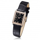 Clerc A8004T Women's Fashionable Leather Band Analog Quartz Watch - Rose Gold + Black (1 x 626)