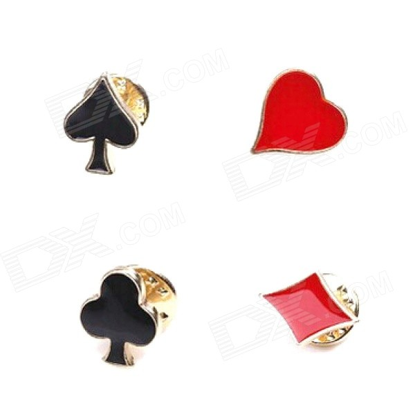 4-in-1 Shirt Suit Collar Poker Brooches - Black + Red
