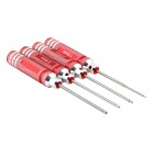 Stainless Steel 1.5mm / 2mm / 2.5mm / 3.0mm Hex Wrench Set - Red + Silver (4 PCS)