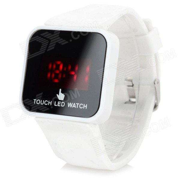 Fashion Silicone Band LED Touch Screen Digital Wrist Watch - White (1 x CR2032)