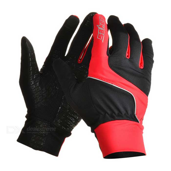 SAHOO 42890 Unisex Cycling Riding Warm Full-Finger Touch Screen Gloves - Black + Red (XXL / Pair) cute bear paw plush gloves winter warm thermal children knitted gloves full finger mittens cartoon gloves