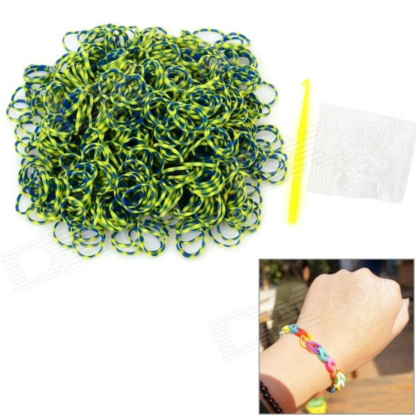 DIY Educational Silicone Rubber Bands for Children - Yellow + Blue (600 PCS) glow in the dark diy educational silicone rubber band for children yellow green 300 pcs