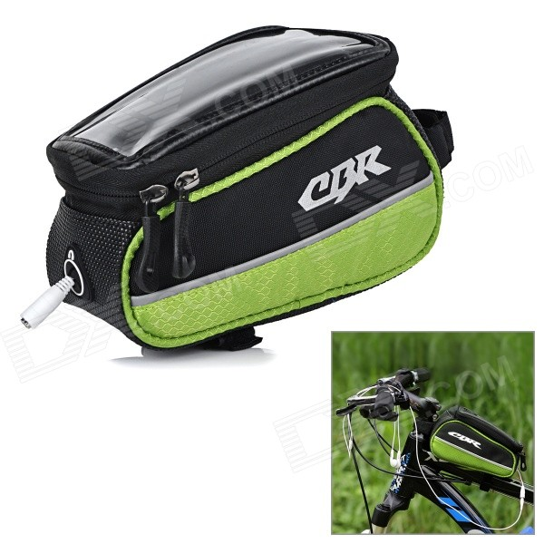 CBR CBR-14 Outdoor Cycling Bike Touch Screen Top Tube Bag - Black + Green coolchange waterproof bike bag frame front head top tube cycling bag double ipouch 6 2 inch touch screen bicycle bag accessories