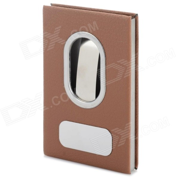 Business Style PU + Aluminum Alloy Name Card Holder Case - Silver + Brown 1pcs vertical id name card case aluminum alloy business card badge holder with neck lanyard strap company office supplies
