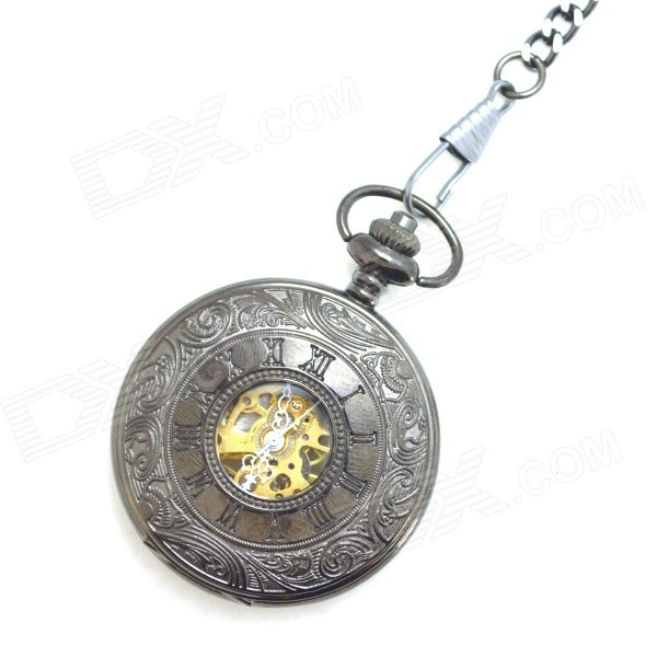 W11 Retro Zinc Alloy Mechanical Analog Pointer Pocket Watch - Antique Brass man mechanical pocket watch roman classic fob watches horse retro vintage gold ipg plating copper brass case good quality hour