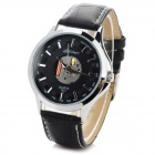 YiLiQi Men's Fashion PU Band Analog Quartz Wrist Watch - Black + Silver (1 x 377)