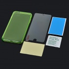 Back Case + Glass Screen Guard for IPHONE 6 PLUS - Transparent + Green