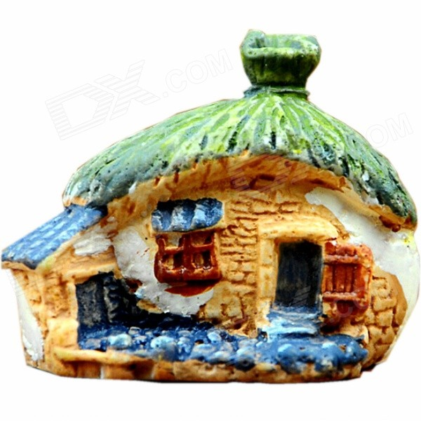 Micro Landscape Environmental Protection Resin Thatched Cottage Decoration - Green + Multi-Colored