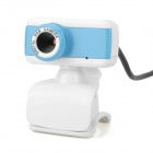 USB Wired 500KP Webcam w/ Microphone for Computer - White + Blue