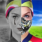 NUCKILY PK03 Sports Cycling Windproof Dust-proof Mouth Mask - Black + White + Multicolored