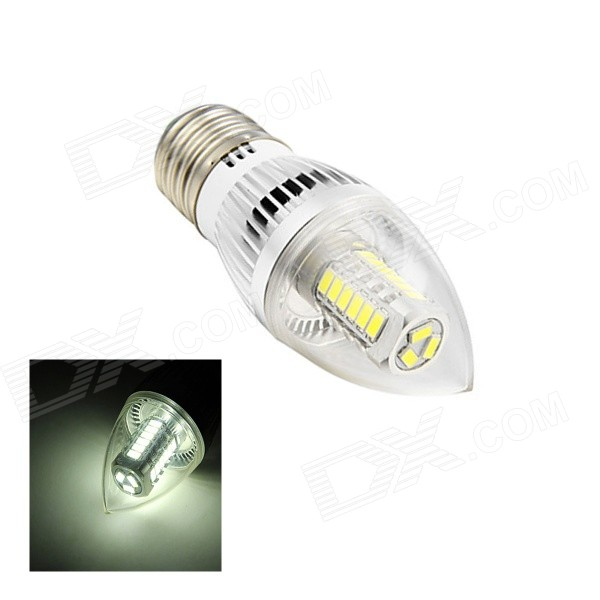 E27 5W 260lm 6500K 27-SMD 5730 LED White Light Candle Lamp (AC 110~220V)