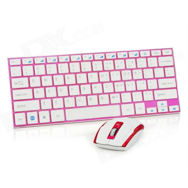 HK-3910 2.4GHz Wireless USB 2.0 Keyboard + Mouse Set - White + Deep Pink (4 x AAA)