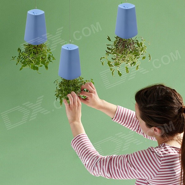 NEJE GZ0018-4 Upside-Down Plastic Flower Plant Pot Set - Blue