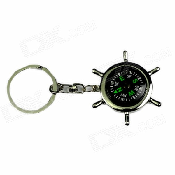 Portable Creative Zinc Alloy Keychain with Compass  - Silver + Multi-Color compact 3 in 1 alloy compass opener keychain kit tool