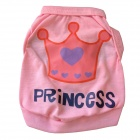 "A00101 ""PRINCESS"" Lettering Crown Pattern Cotton Vest T-shirt for Pet Dog - Pink (Size XS)"