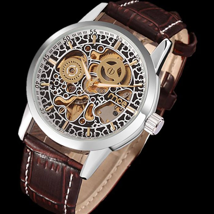 MCE Men's PU Band Analog Self-Winding Auto-Mechanical Wrist Watch - Brown + Silver