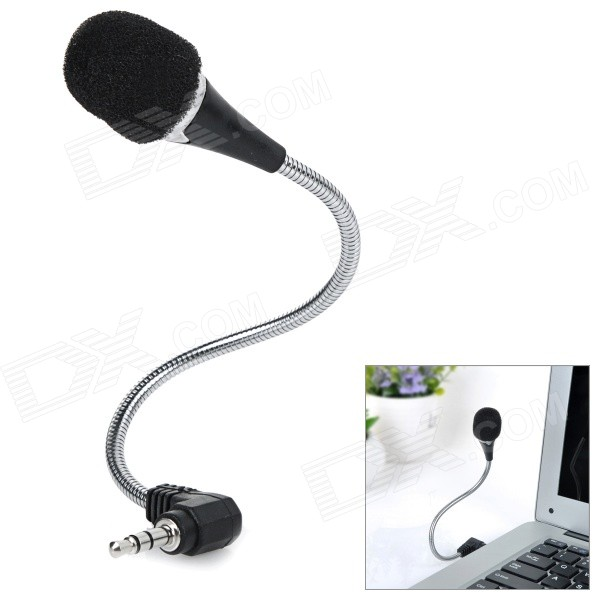 18cm Mini Microphone w/ Flexible Neck & 3.5mm Jack Plug - Black + Silver стилус polar pp001
