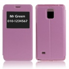 Hat-Prince Protective Case w/ Call Display + Stand for Samsung Galaxy Note 4 N9100 - Pink