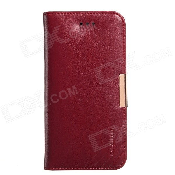 KALAIDENG Protective Genuine Leather Case w/ Stand for IPHONE 6 - Claret fierre shann for iphone 7 plus cowhide genuine leather skin hard case with ring holder red