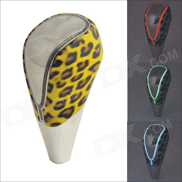 CARKING 01B Leopard Print Car Shift Gear Knob w/ Touch Activated Colorful Light LED - Yellow + Black мужские часы atlantic 63456 45 21