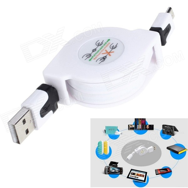 Retractable USB Male to Micro USB Male Data Sync & Charging Cable for Samsung + More - White (80cm) usb 2 0 to micro usb 5 pin charging data sync cable for htc xiaomi more white red 102cm