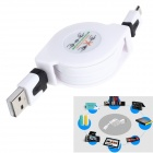Retractable USB Male to Micro USB Male Data Sync & Charging Cable for Samsung + More - White (80cm)