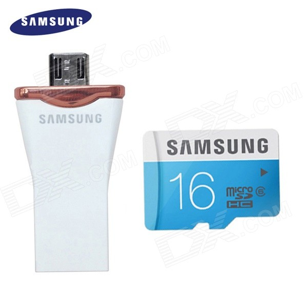 Samsung Micro SDHC16GB Class UHS-I Card + Samsung OTG 16GB Micro USB 2.0 Flash Drive for Android samsung 16gb class uhs i micro sdhc tf flash memory card usb card reader orange