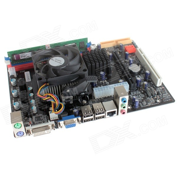 DIY Mini Computer Assembling C68 Motherboard + CPU  + 1GB DDR2 RAM + Fan Set - Black + Red