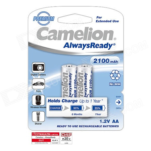 Camelion AlwaysReady 2100mAh Ni-MH AA Rechargeable Batteries (2 PCS) 8pcs pkcell battery aaa pre charged nimh 1 2v 1200mah ni mh 3a rechargeable batteries up to 1000mah capacity cycle 1200times