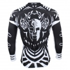 Men's Print Long-sleeve Zipper Cycling Jersey - White + Black (M)