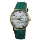 Women's Lettering Dial PU Band Quartz Analog Casual Watch - Green
