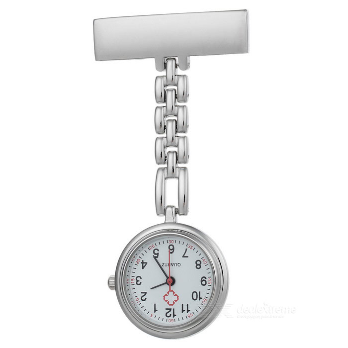 Trendy Needle Buckle Chain Design Pocket Quartz Analog Watch for Doctor Nurse - Silver (1 x 377)