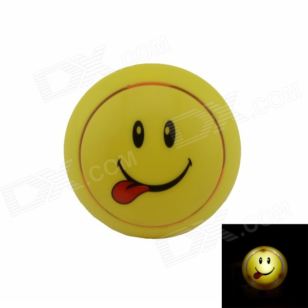 Smile Face Style Intelligent Light Control G4 0.1W 21lm Night-light - Yellow + Red (US Plug) cute smile face expression round erasers yellow 4 piece random style