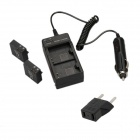 Dual-Slot Car Charger w/ EU Adapter + 2-Batteries for SJ4000 / SJ4000 Wi-Fi Camera