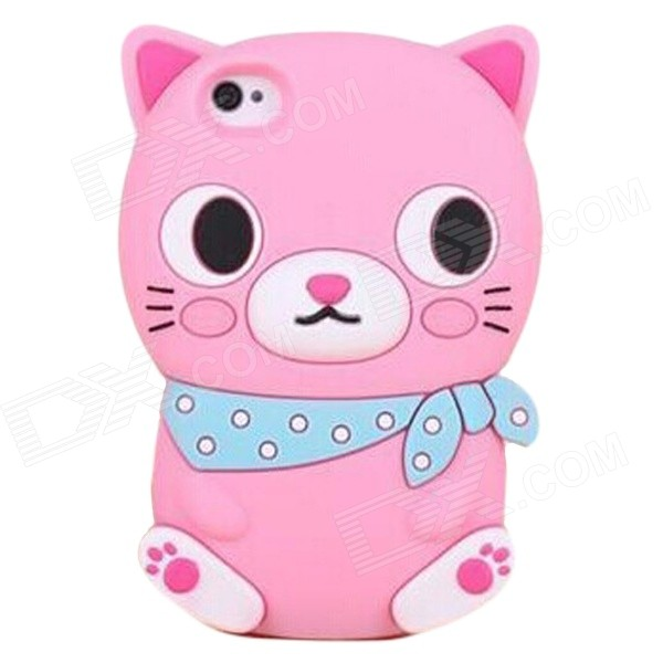 ZIQIAO Cute Cat Shaped Protective Silicone Back Case for IPHONE 5 / 5S - Pink + Blue protective matte silicone case for iphone 5 5s dark blue white