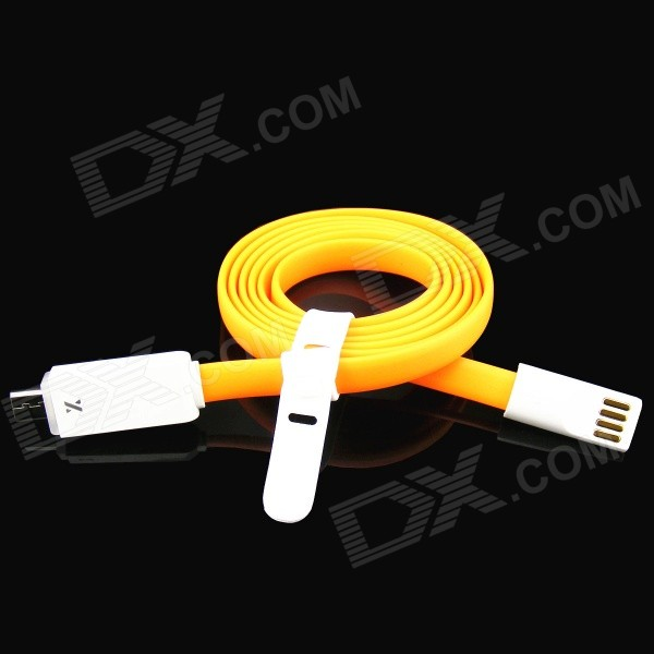 PZ-56 USB Male to Micro USB Male Charging & Sync Cable w/ LED Indicator - Orange (100cm) pzcd pz 48 firefly micro usb male to usb 2 0 male data sync charging led visible cable orange