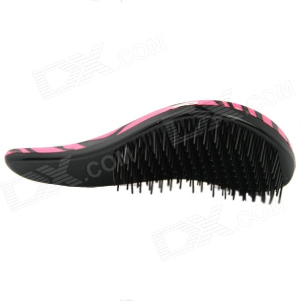 Crescent Shaped Anti-static Plastic Hair Massage Comb - Deep Pink + Black electric 3 in 1 led microcurrent laser comb hair loss therapy hair growth care power grow brush scalp massage tool health care