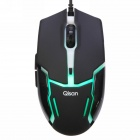 Qisan X5 6 Button 800/1600/2000DPI USB Wired Gaming Mouse w/ 7-LED Backlight - Black