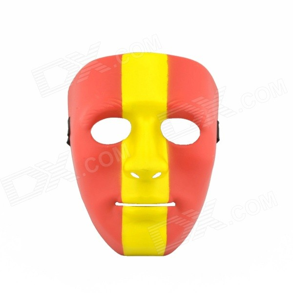 Spanish Style PP Face Mask w/ Elastic Belt for Party - Red + Yellow