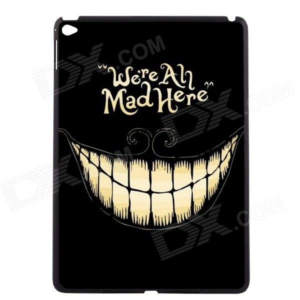 Elonbo We're All Mad Here Pattern Plastic Hard Back Case Cover for IPAD AIR 2 - Black + Yellow