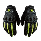 Scoyco Sporty Full-Finger Anti-Slip Motorcycle Gloves - Black + Green (Pair / Size L)